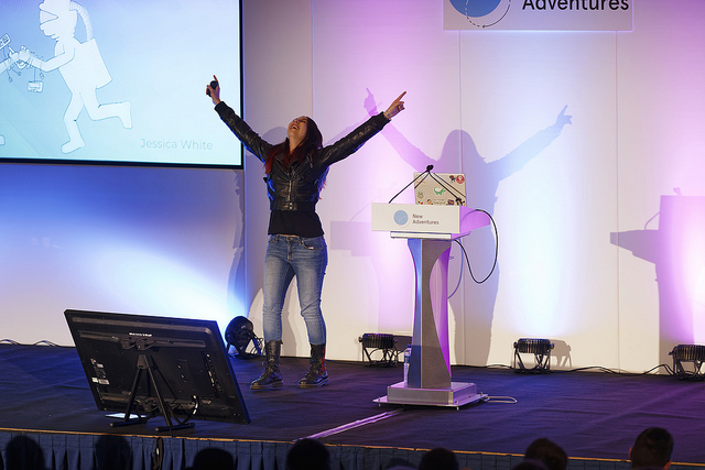 Jess White on the stage at New Adventures
