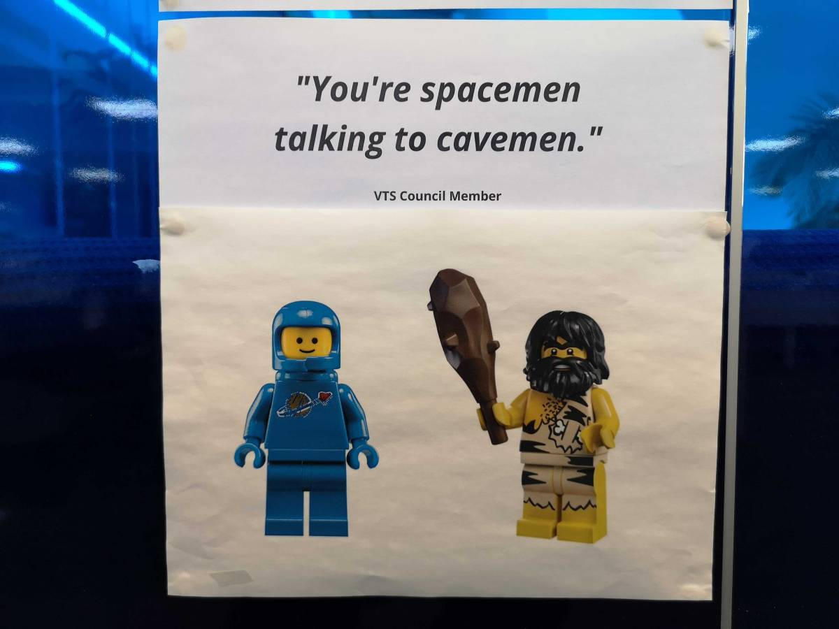"Quote saying ""You're spacemen talking to cavemen."""